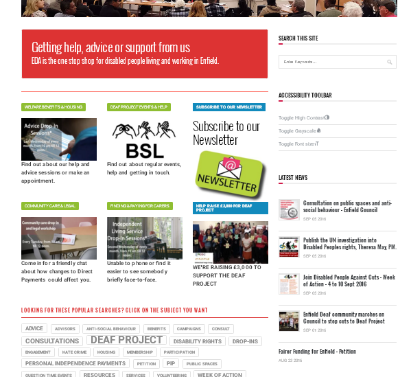Enfield Disability Action – Redesign