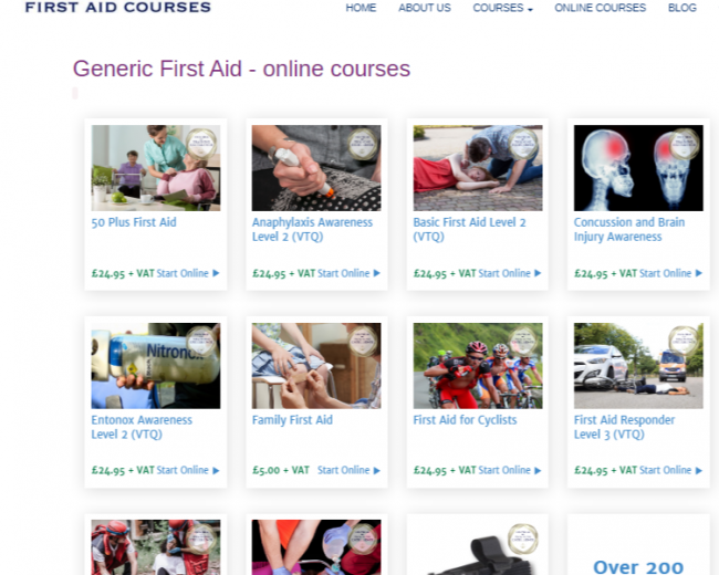 GENERIC FIRST AID – ONLINE COURSES – Worsley Training – web page