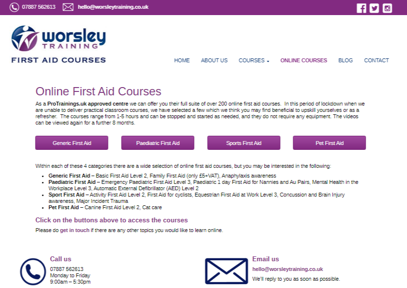 Worseley First Aid Training – new online course pages